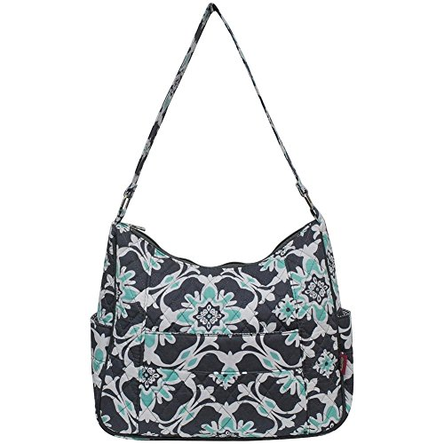 Ngil Quilted Cotton Hobo Shoulder Bag (Quatro Vine Grey) (Quilted Shoulder Cotton Bag Handbag)