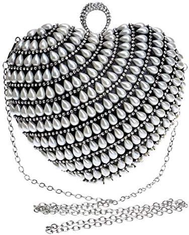 婦人真珠のハンドバッグ、ハート型のクラッチ、花嫁のドレスの宴会のイブニングバッグを変更、(色:黒) 美しいファッション