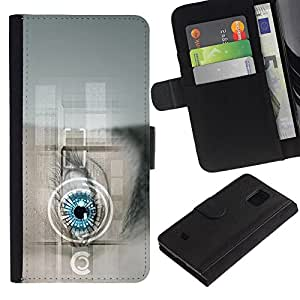 Billetera de Cuero Caso Titular de la tarjeta Carcasa Funda para Samsung Galaxy S5 Mini, SM-G800, NOT S5 REGULAR! / Future Tech Doctor Robot Android / STRONG