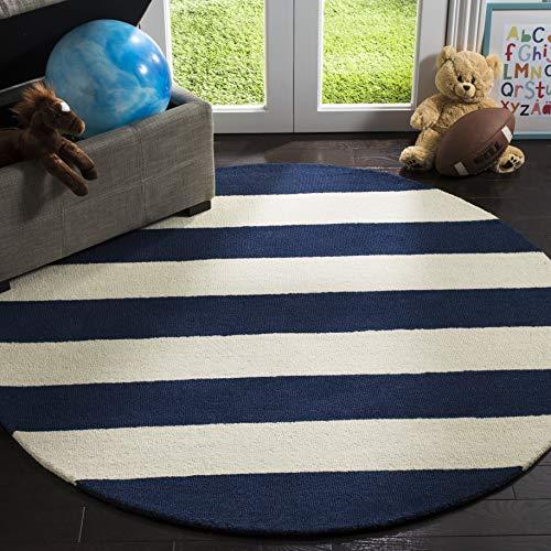 Safavieh Kids Collection SFK919N Handmade Classic Stripe Wool Round Area Rug (5' in Diameter)