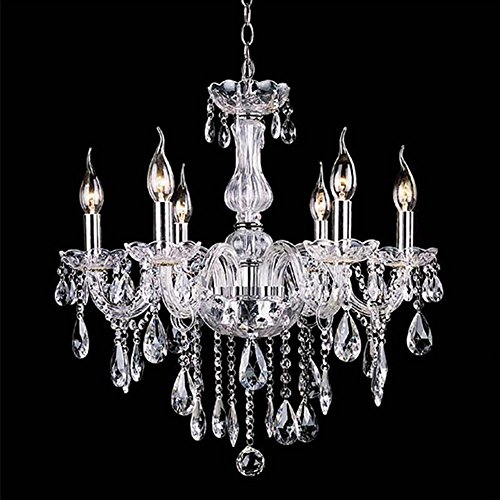 110V Modern Crystal Chandeliers Lighting, Lamp Fixture Pendant 6 Lights Ceiling Chain Candle Chandelier w/ 10 Light (Crystal Chandelier 6 Base Lamps)