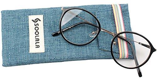 SOOLALA Unisex Vintage Inspired Round Circle Reading Glasses Customized Strengths, Black, - Customized Sunglasses