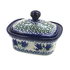 Blue Rose Polish Pottery Blue Tulip Butter Tub