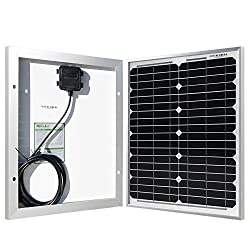 HQST 20 Watt 12 Volt Monocrystalline Solar Panel for DC 12V Battery Charging and Any Other Off Grid Applications