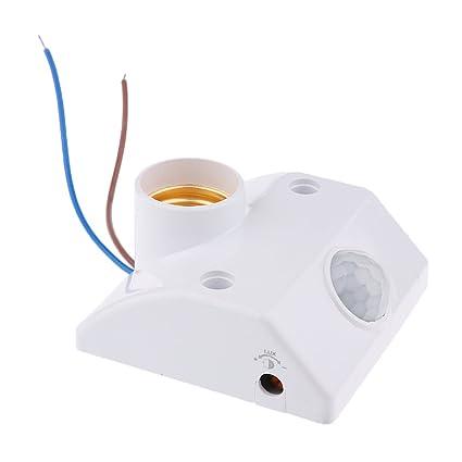 Homyl E27 Socket Pir Automático Sensor de Movimiento Humano Detector Infrarrojo Titular de Base de Bombilla