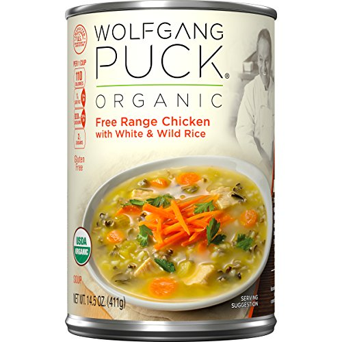 Wolfgang Puck Organic Free Range Chicken with White & Wild Rice Soup, 14.5 Ounce (Pack of 12) (Soup Puck Wolfgang Organic)