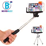 Selfie Stick by BestiesBuzz - Includes Mini Tripod and Action Camera Mount Accessory - Integrated Bluetooth Wireless Camera Shutter- Suits iPhone 4 5 6/Plus, Samsung Galaxy S3 S4 S5 S6/Edge