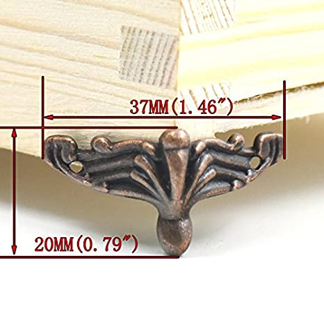 Fujiyuan 10 pcs Alloy Jewelry Chest Box Wood Decorative Feet Leg Corner Protector bronze 37mm 1.46 Guard Furniture