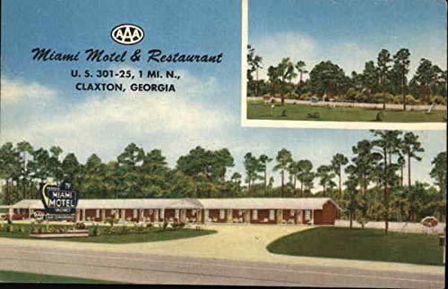 Miami Motel & Restaurant Claxton, Georgia Original Vintage Postcard