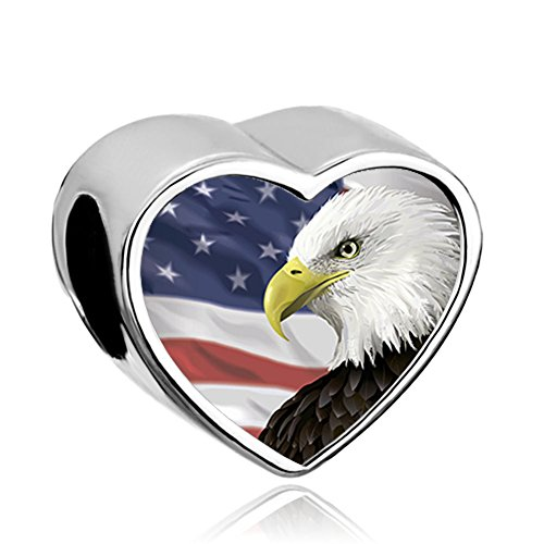 Q&Locket Heart Love USA Patriotic 4th Of July Independence Day Remembrance Charm Photo Bead For Bracelet - Day Independence Usa Sale In