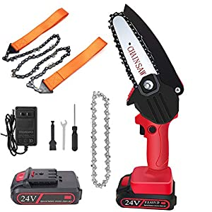 Mini Chainsaw 4-Inch Cordless Power Chain Saws with Rechargeable Battery Pruning Shears Chainsaw for Courtyard Tree…