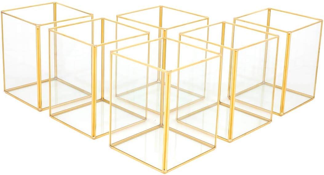 Koyal Wholesale Gold Geometric Hurricane Candle Holder Set of 6 for Wedding Centerpiece, Table Decorations, Home Decor, Patio Decor