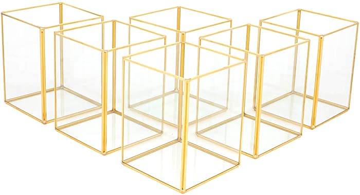 Koyal Wholesale Gold Geometric Hurricane Candle Holder Set of 6 for Wedding Centerpiece, Table Decorations, Home Decor, Patio Decor