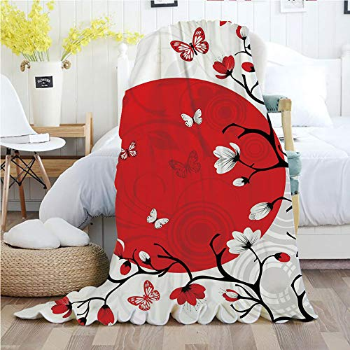 Ylljy00 Japanese,Throw Blankets,Flannel Plush Velvety Super Soft Cozy Warm with/Japanese Culture Inspired Artwork Cherry Blossom Sakura Tree Eastern/Printed Pattern(70
