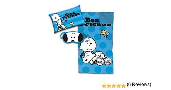 Featuring Charlie Brown /& Woodstock Official Peanuts Product Jay Franco Peanuts Snoopy 3 Piece Sleepover Set Cozy /& Warm Kids Slumber Bag with Pillow /& Eye Mask