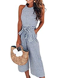 Assivia Womens Sexy Striped Spaghetti Strap Backless Wide Leg Jumpsuit Rompers