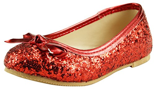 The Doll Maker Bow Top Glitter Flat-FBA173032A-7, Red, 7 M US Toddler