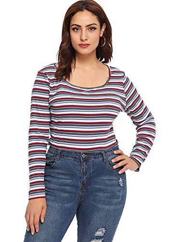 Milumia Women's Casual Striped Ribbed Tee Knit Crop Top Multicolor-5 3XL -