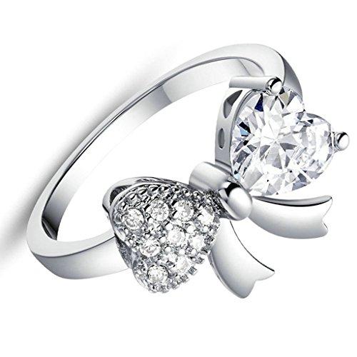 Daesar Versilbert Damen Ring Silber Verlobungsring Ring Bowknot Silber Ring mit Stein Größe:52 (16.6)