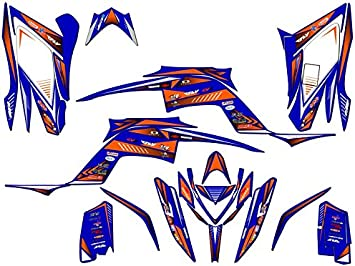 Senge Graphics Kit compatible with Yamaha 2013-2020 Raptor 700 Zany Blue Graphics Kit with blank number plates WITH EXTRA COVERAGE