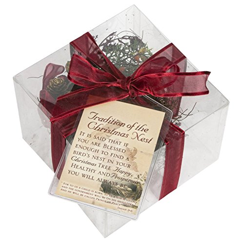 Cottage Garden Legend of Nest Inspirational Red and Brown Gift Box with Ribbon and Tag (Nest Christmas Birds In Tree)