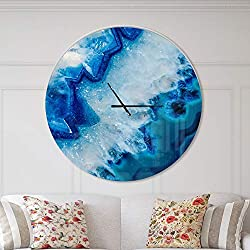 Designart Geode Slice Macro' Oversized Modern Metal Clock, Circle Wall Decoration Art, 38x38 Inches, Blue