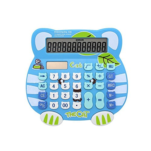 Loghot Adorable Creative 12 Digits Solar Dual Power Cartoon Cat Shape LCD Display Desktop Calculator with Big Screen Blue by Loghot
