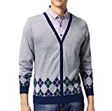 Doufine Mens Turn Down Collar Knit Vogue Buckle Long Sleeve Fake Two Sweater XL