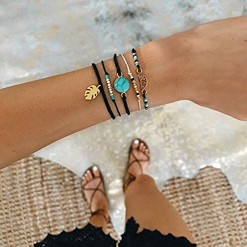 Pura Vida Gold Riviera Stone Bezel Braided Black Bracelet - Plated Charm, Adjustable Band - 100% Waterproof by Pura Vida (Image #2)