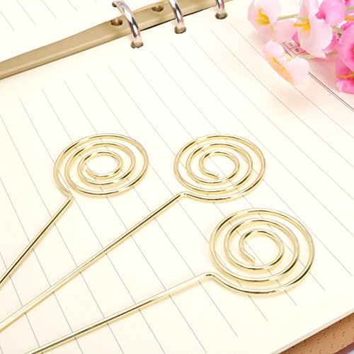 Price comparison product image JANOU Circle Ring Loop DIY Craft Card Note Clip Photo Memo Holder Cake Topper Decoration (Gold) Pack 20pcs