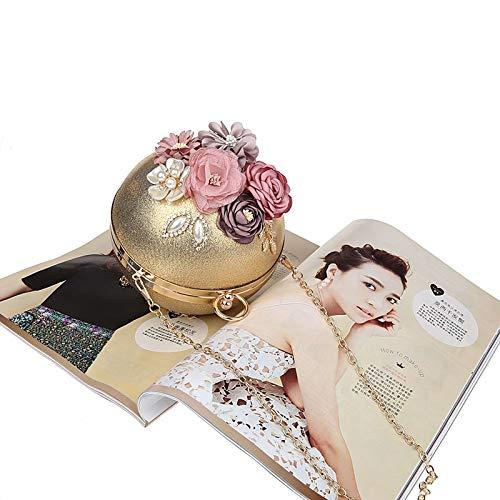 Classique soirée Soirée d'autres Jours soirée Bal Fleur Pochette Main Incrusté à A pour Et Fashion de diameter6inch de Sacs fériés Sac C Parti Diamants Mini de 1T6wnIqx1