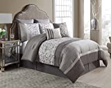 King Size Complete BED-IN-A-BAG in Taupe Luxurious Textured Paisley 8 Pc Set w/ Decorative Pillows
