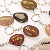Set of 12, Rock Impact Engraved Inspirational Stones Natural River Rock Keychain Rings, Wholesale Faith Stones, Novelty Healing Stone Key Chain Bulk Lot, Assorted Sayings (12 Different Words)