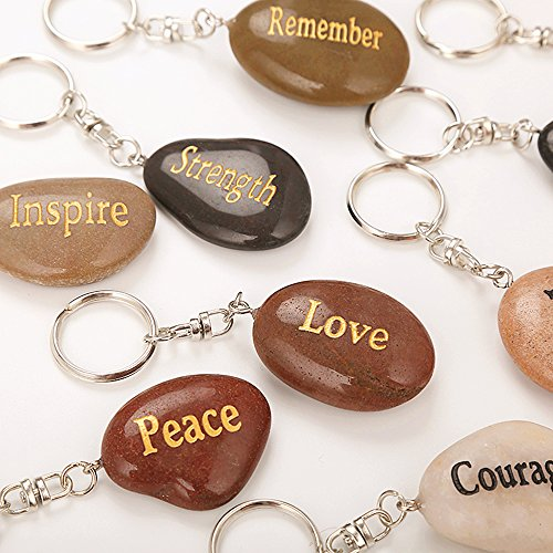 Rock Impact Set of 12, Engraved Inspirational Stones Natural River Rock Keychain Rings, Wholesale Faith Stones, Novelty Healing Stone Key Chain Bulk Lot, Assorted Sayings (12 Different Words) -