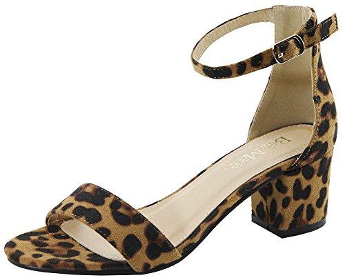 Bella Marie Women's Strappy Open Toe Block Heel Sandal Leopard 9