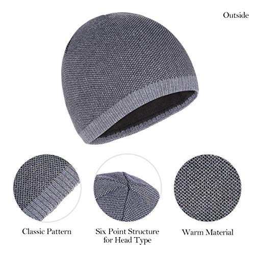 baddf77de63 OMECHY Mens Winter Warm Knitting Hats Plain Skull Beanie Cuff Toboggan Knit  Cap 4 Colors