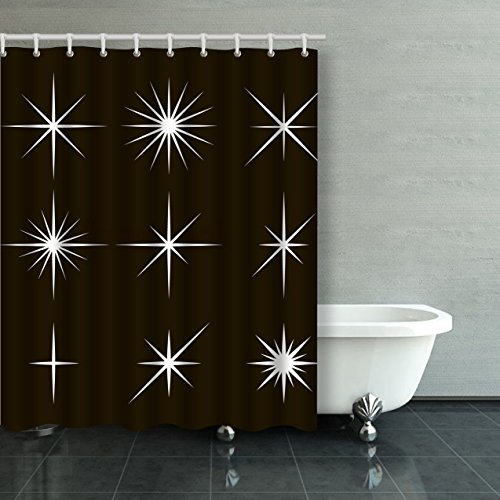 Emvency Shower Curtain Waterproof Sparkle Lights Stars Stars With Rays Explosion Fireworks Cotton Sofa With Plastic Hooks Polyester Fabric Adjustable Curtain For Bathroom