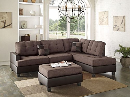 Poundex Bobkona Matthew Linen-Like Polyfabric Left or Right Hand Chaise SECTIONAL Set with Ottoman in Chocolate