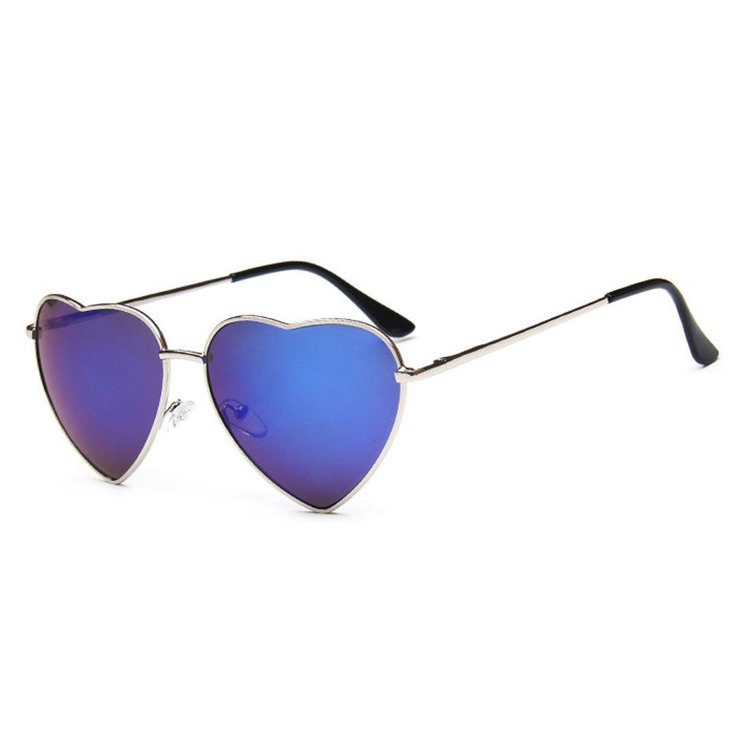 bluee gold Frame Heart Shaped Cupid Sunglasses for Women Gradient Lens Eyewear Sunglasses