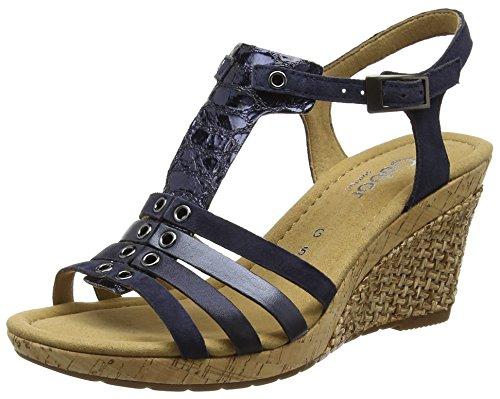 Gabor Shoes Comfort, Sandalias con Cuña para Mujer Azul (ocean Grata)