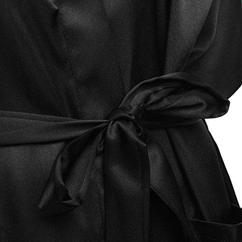 Robe - TOOGOO(R)Femme Sexy Kimono Nuisette Lingerie Nuit Grand Taille Peignoir Robe Noir 2XL