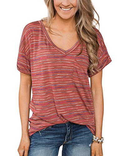 HUHHRRY Women Casual Loose Basic Short Sleeve V Neck Striped T-Shirt Tunic Tops - Sleeve V-neck Top Striped
