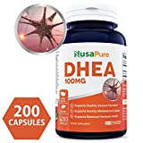 Pure DHEA 100mg 200 Capsules (NON-GMO & Gluten Free) Promote Balanced Hormone Levels for Women & Men - Support Healthy Metabolism, Brain & Immune Function - 100% MONEY BACK GUARANTEE!
