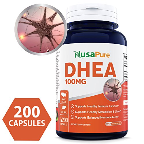 Pure DHEA 100mg 200 Capsules (NON-GMO & Gluten Free) Promote Balanced Hormone Levels for Women & Men - Support Healthy Metabolism, Brain & Immune Function - 100% MONEY BACK GUARANTEE! by NusaPure