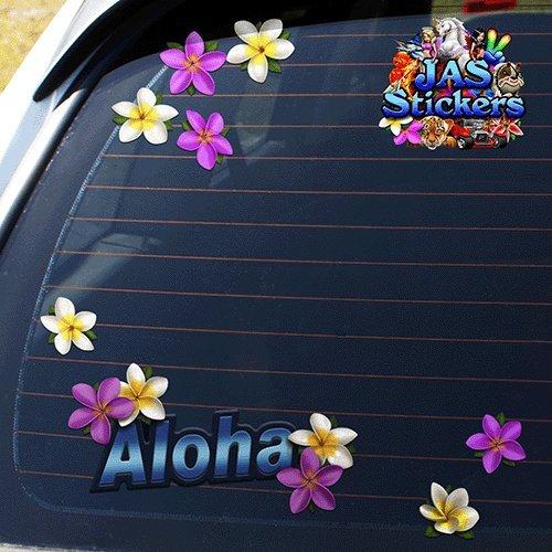 JAS Stickers Aloha Surf Hawiian ST00054 Frangipani Plumeria Flower Decal Car Stickers