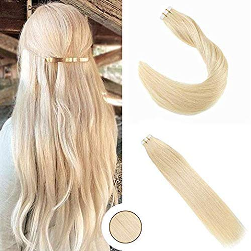 - Ugeat Seamless Tape in Hair Extensions Human Hair #613 Bleach Blonde Color 14inch Skin Weft Glue in Hair Double Sided 50Grams