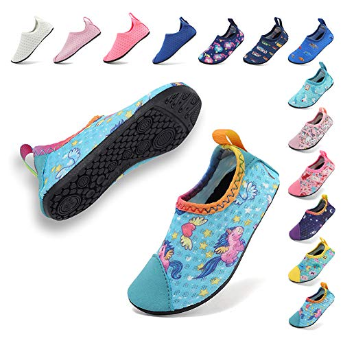 Coolloog Toddler Water Shoes Swims Loafers Beach Pool Barefoot Skin Shoes for Surfing Yoga Peach Unicorn