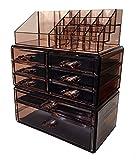 Sodynee Acrylic Makeup Cosmetic Organizer Storage Drawers Display Boxes Case, Three Pieces Set
