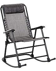 Outsunny Schommelstoel, inklapbare schommelstoel, tuinligstoel, schommelstoel met hoofdkussen, staal + textileen tot 120 kg, 90 x 64 x 110 cm, grijs/zwart