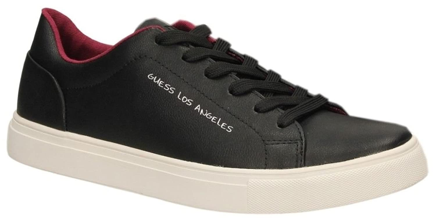 #Guess Luiss Black White Red Leather Mens Trainers Shoes